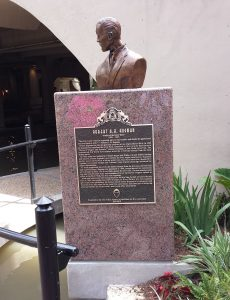 Mr. Hugman's plaque and bust on the Riverwalk