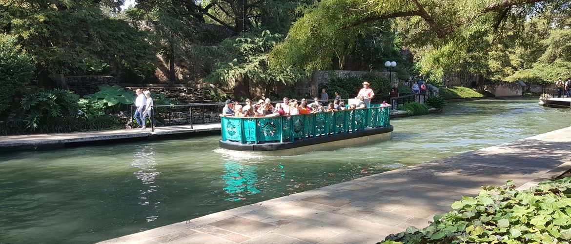 The new river barges on the San Antonio Riverwalk